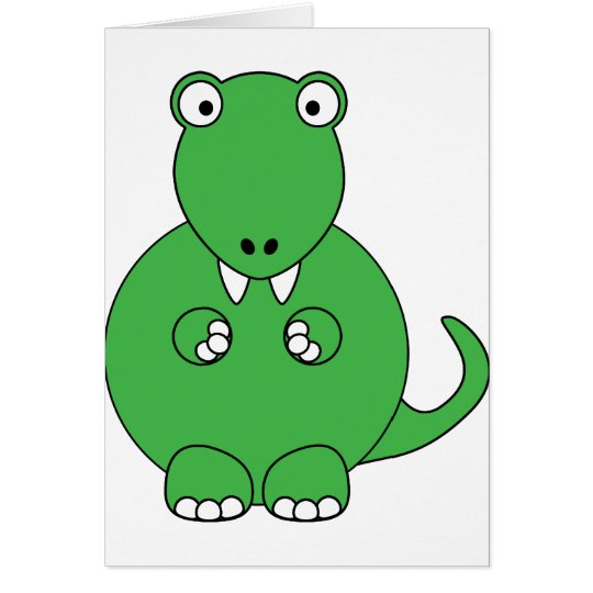 Cartoon T-Rex (green) Card