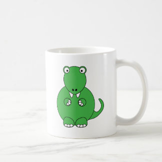 Cartoon T-Rex (green) Classic White Coffee Mug