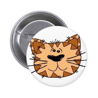 Cartoon Tabby Cat Face 2 Inch Round Button