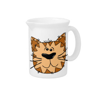 Cartoon Tabby Cat Face Pitcher