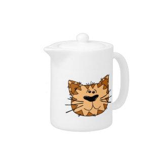 Cartoon Tabby Cat Face Teapot
