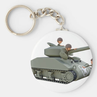 Cartoon Tank and Soldiers at Ease Keychain