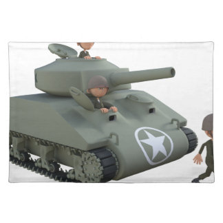 Cartoon Tank and Soldiers Going Forward Cloth Placemat
