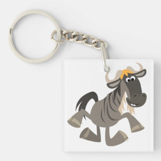 Cartoon Tap Dancing Wildebeest Acrylic Keychain