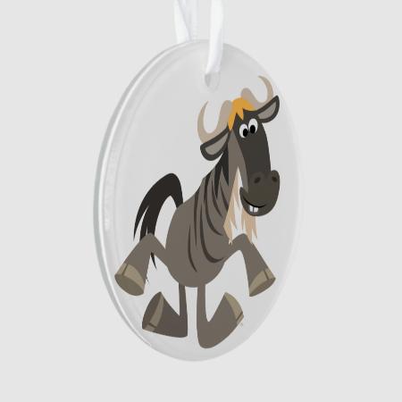 Cartoon Tap Dancing Wildebeest Acrylic Ornament