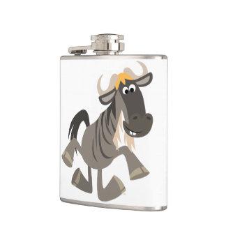 Cartoon Tap Dancing Wildebeest Hip Flask