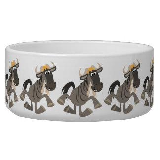 Cartoon Tap Dancing Wildebeest Pet Bowl