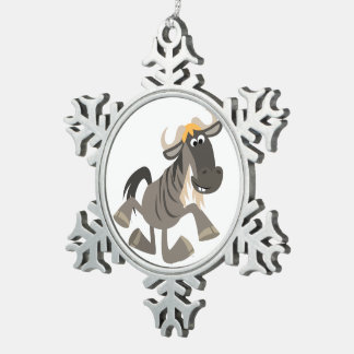 Cartoon Tap Dancing Wildebeest Pewter Ornament