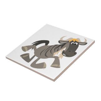 Cartoon Tap Dancing Wildebeest Tile