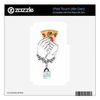 Cartoon Tasty Pizza and Hands2 Skin For iPod Touch 4G