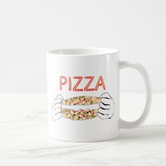 Cartoon Tasty Pizza and Hands3 Coffee Mug
