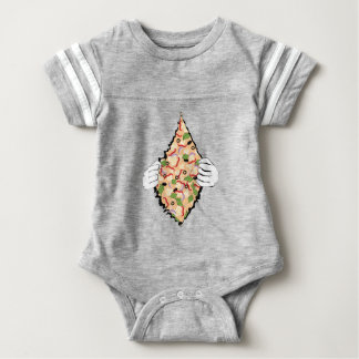Cartoon Tasty Pizza and Hands4 Baby Bodysuit