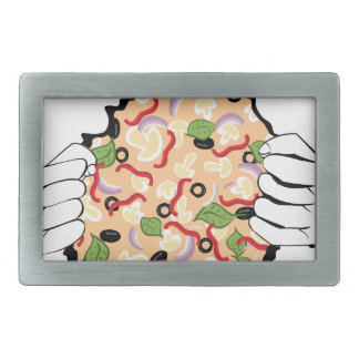 Cartoon Tasty Pizza and Hands4 Belt Buckle