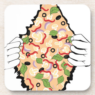 Cartoon Tasty Pizza and Hands4 Beverage Coaster
