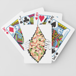 Cartoon Tasty Pizza and Hands4 Bicycle Playing Cards