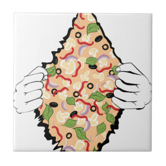 Cartoon Tasty Pizza and Hands4 Ceramic Tile
