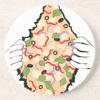 Cartoon Tasty Pizza and Hands4 Drink Coaster