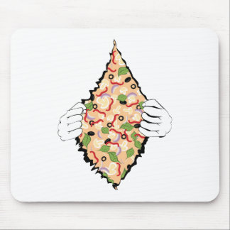Cartoon Tasty Pizza and Hands4 Mouse Pad
