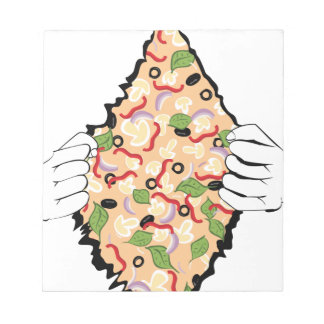 Cartoon Tasty Pizza and Hands4 Notepad
