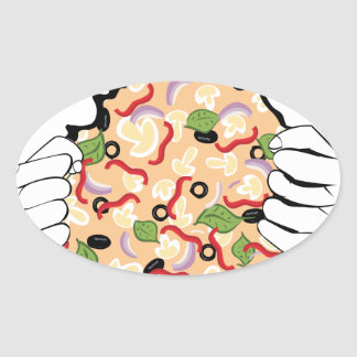 Cartoon Tasty Pizza and Hands4 Oval Sticker