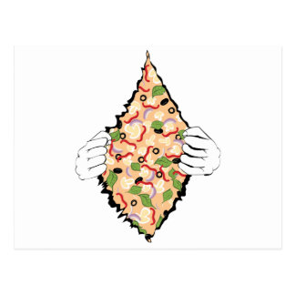 Cartoon Tasty Pizza and Hands4 Postcard