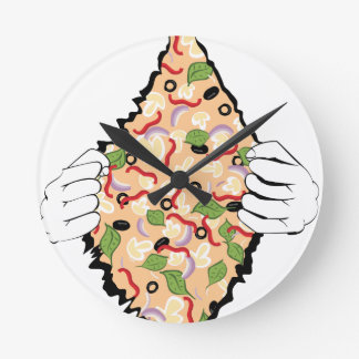 Cartoon Tasty Pizza and Hands4 Round Clock