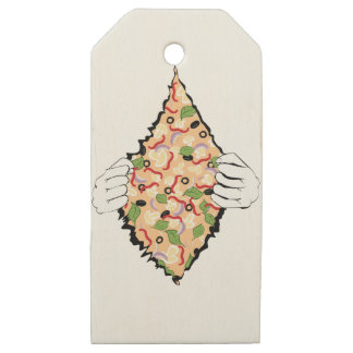 Cartoon Tasty Pizza and Hands4 Wooden Gift Tags