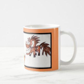 Cartoon team penning cow horse mug