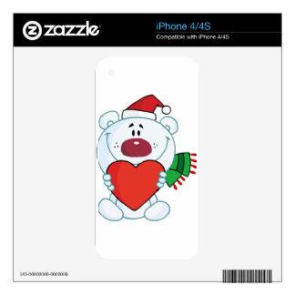 Cartoon teddy bear wearing a Santa hat iPhone 4S Skin