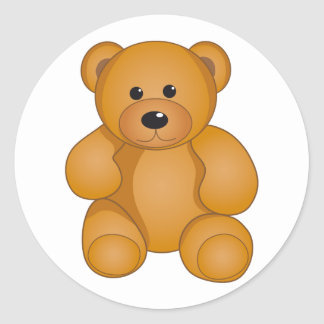 Cartoon Teddy Design Classic Round Sticker