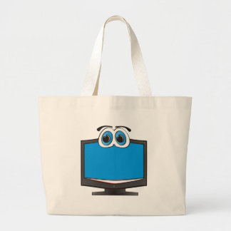 Cartoon Television Blue Large Tote Bag