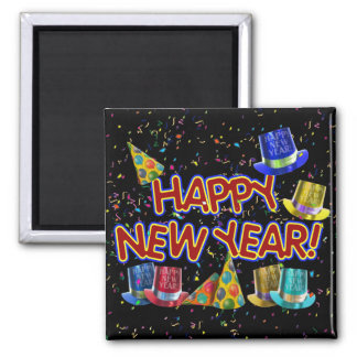 Cartoon Text w/Party Hats & Confetti 2 Inch Square Magnet