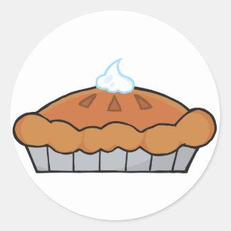 Cartoon Thanksgiving Pie Classic Round Sticker