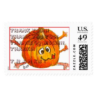 Cartoon Thanksgiving Pumpkin Postage: THANK YOU!  Postage