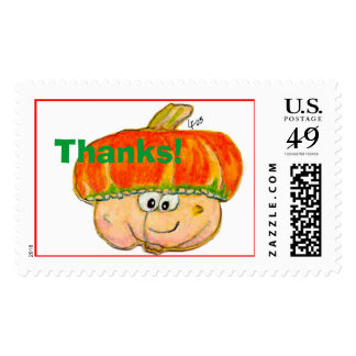 Cartoon Thanksgiving Turban Squash Postage Thanks