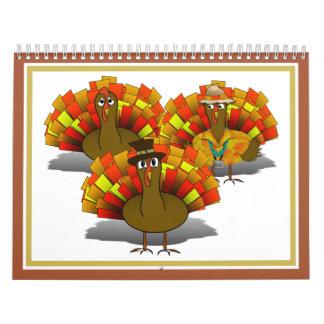 Cartoon Thanksgiving Turkey Trio Wall Calendar