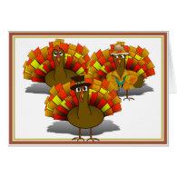 Cartoon Thanksgiving Turkey Trio Greeting Card