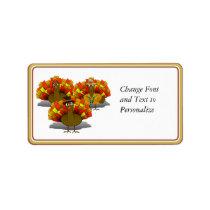 Cartoon Thanksgiving Turkey Trio Label