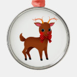 Cartoon the Red-Nosed Reindeer w/ Bow Tie Round Metal Christmas Ornament