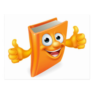 Cartoon Thumbs Up Book Postcard