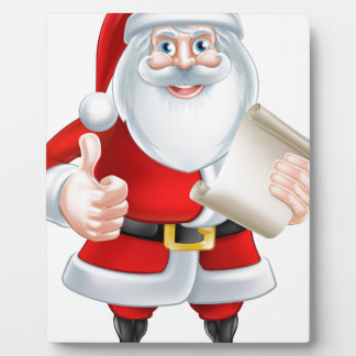 Cartoon Thumbs Up Santa with List Plaques