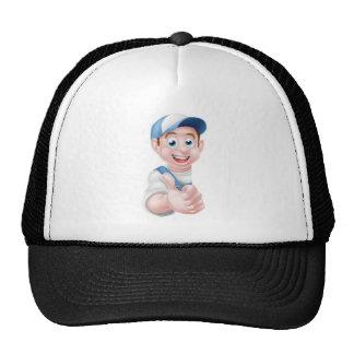 Cartoon Thumbs Up Worker Trucker Hat