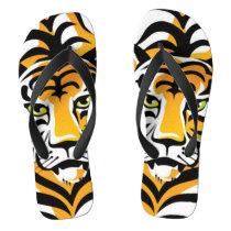 Cartoon Tiger Animal Print Flip Flops