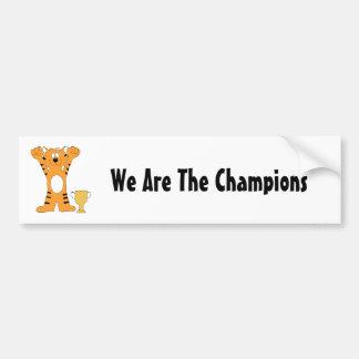 Cartoon Tiger Champion With Trophy Bumper Sticker