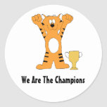 Cartoon Tiger Champion With Trophy Classic Round Sticker
