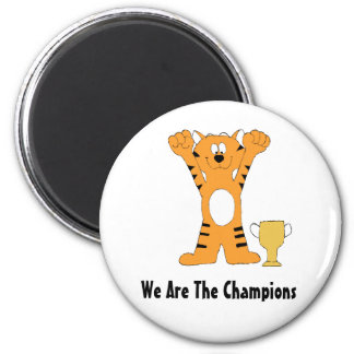 Cartoon Tiger Champion With Trophy 2 Inch Round Magnet