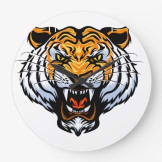 Cartoon tiger face large clock