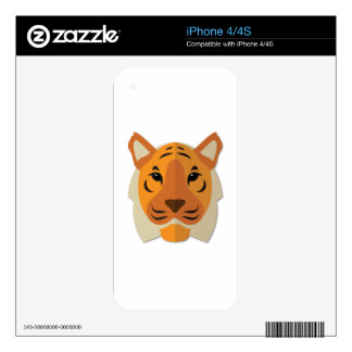 Cartoon Tiger Head Decal For iPhone 4S