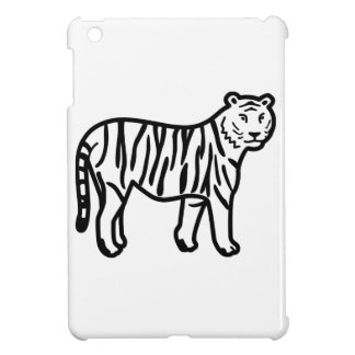 Cartoon Tiger Made from Black Lines Cover For The iPad Mini