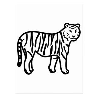 Cartoon Tiger Made from Black Lines Postcard